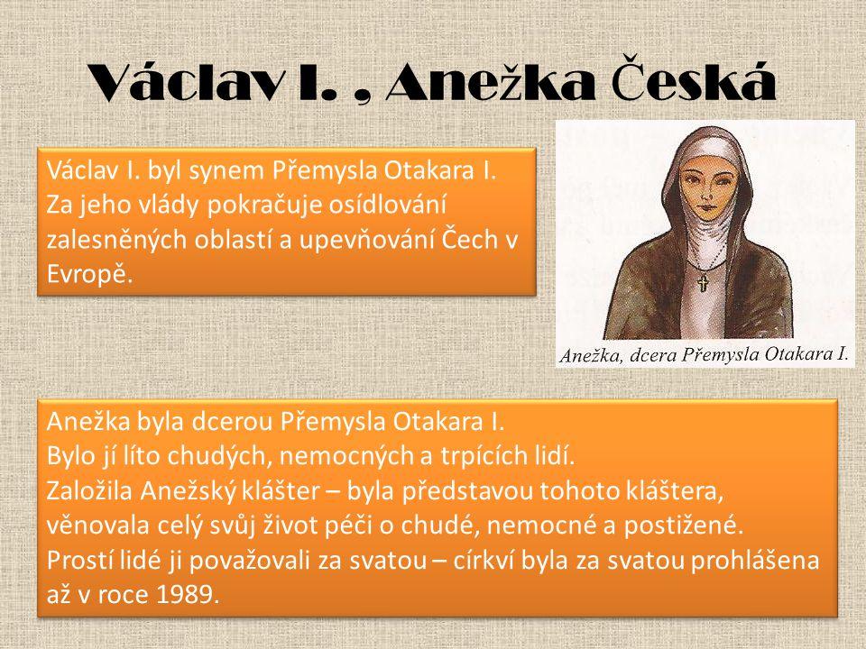 Václav I. , Anežka Česká Václav I. byl synem Přemysla Otakara I.