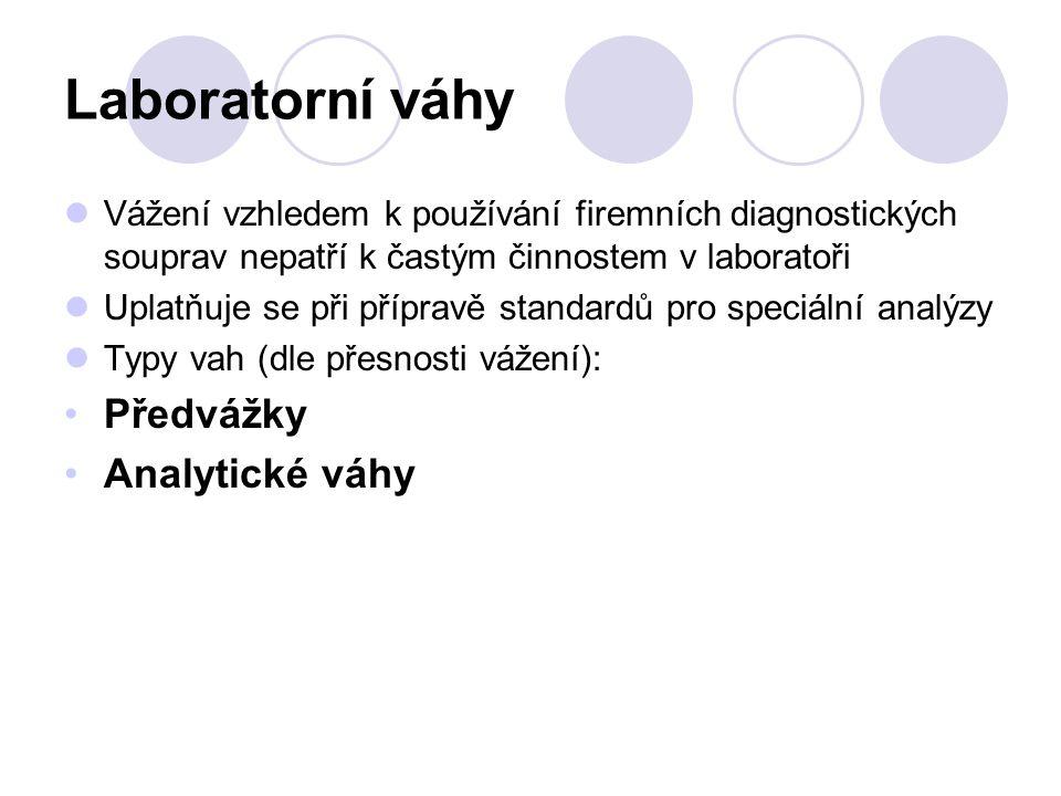 Laboratorní váhy Předvážky Analytické váhy