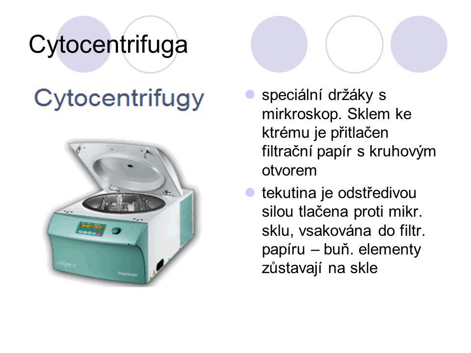 Cytocentrifuga speciální držáky s mirkroskop. Sklem ke ktrému je přitlačen filtrační papír s kruhovým otvorem.