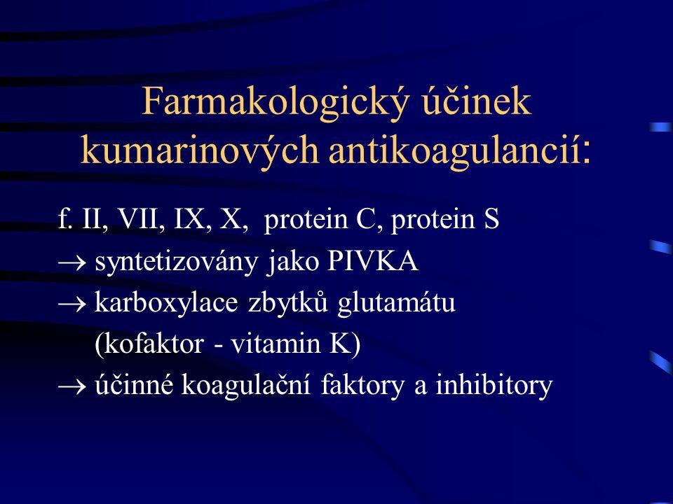 Farmakologický účinek kumarinových antikoagulancií: