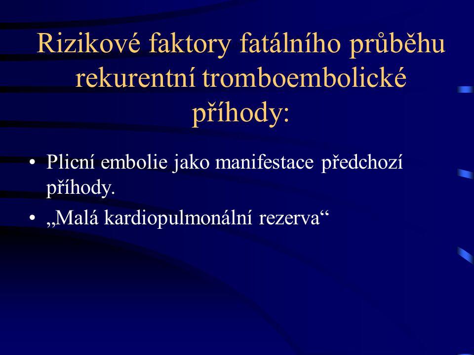 Rizikové faktory fatálního průběhu rekurentní tromboembolické příhody: