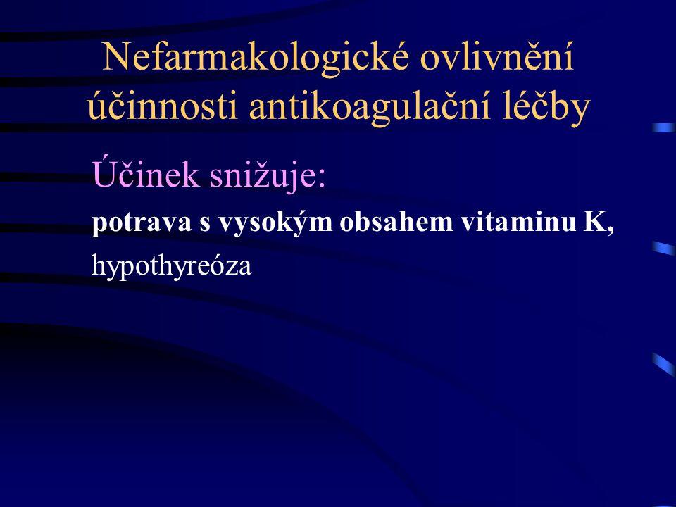 Nefarmakologické ovlivnění účinnosti antikoagulační léčby