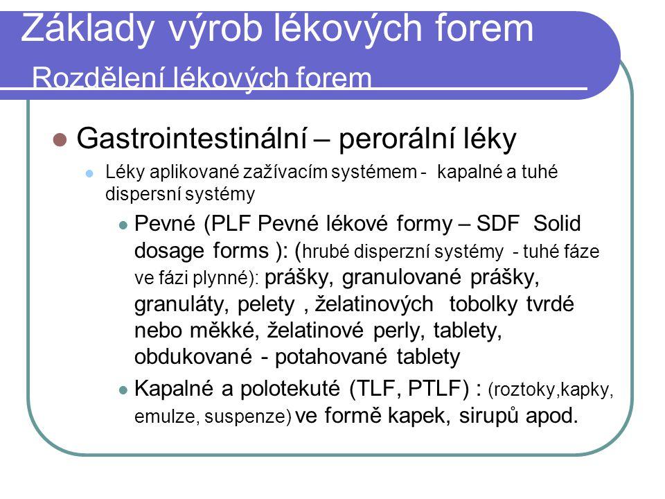 Základy výrob lékových forem Rozdělení lékových forem