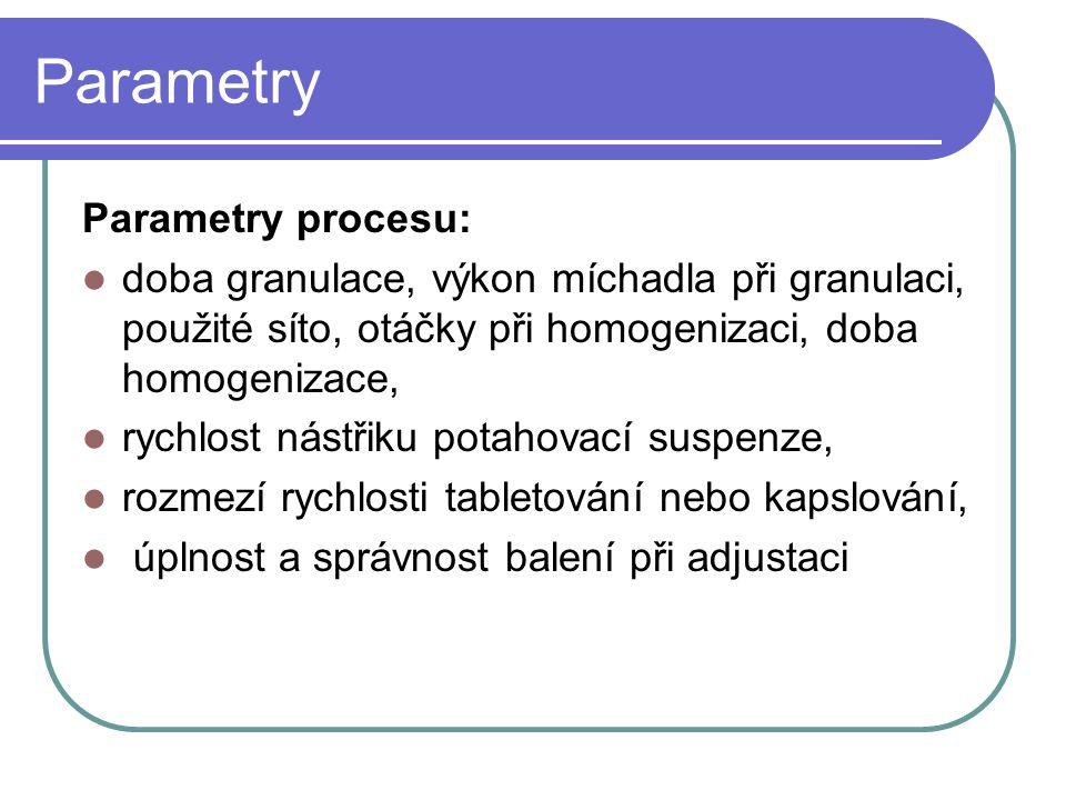 Parametry Parametry procesu: