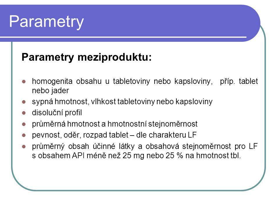 Parametry Parametry meziproduktu: