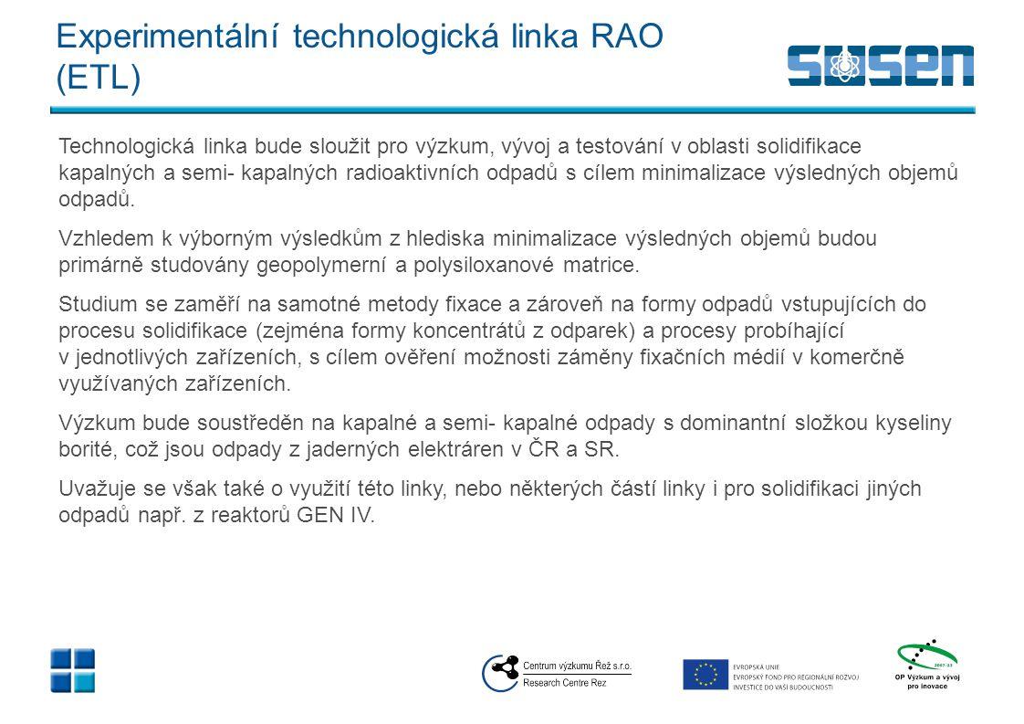 Experimentální technologická linka RAO (ETL) výstupy v SUSEN