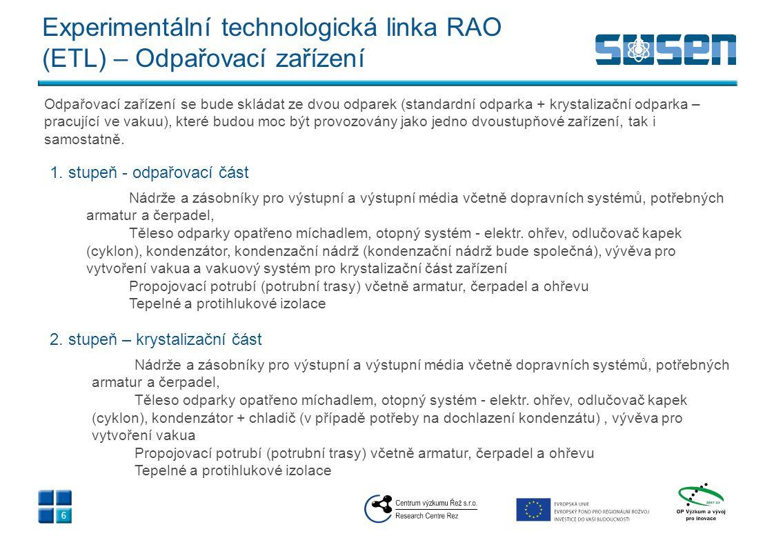 Experimentální technologická linka RAO (ETL) - Odpařovací zařízení