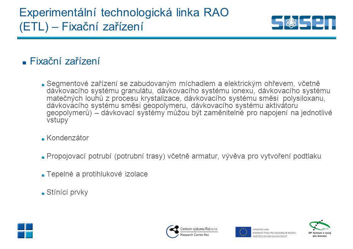 Experimentální technologická linka RAO (ETL) – Extruder
