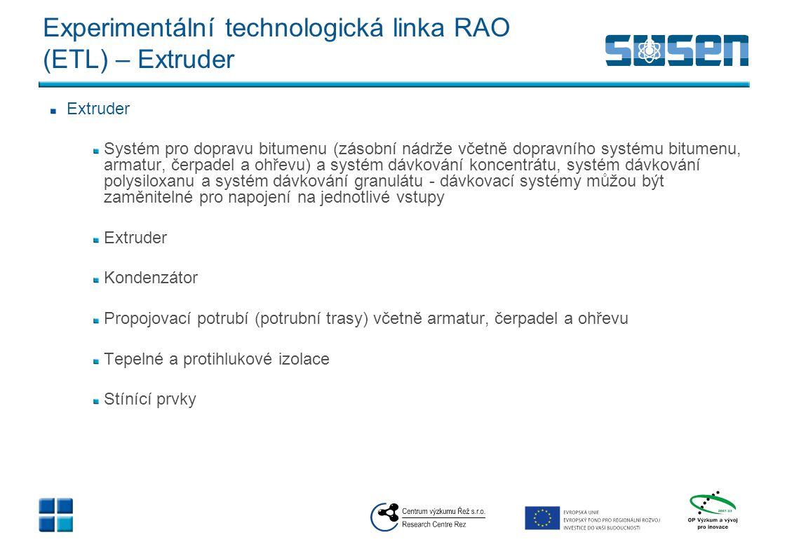 Experimentální technologická linka RAO (ETL) – Dispozice