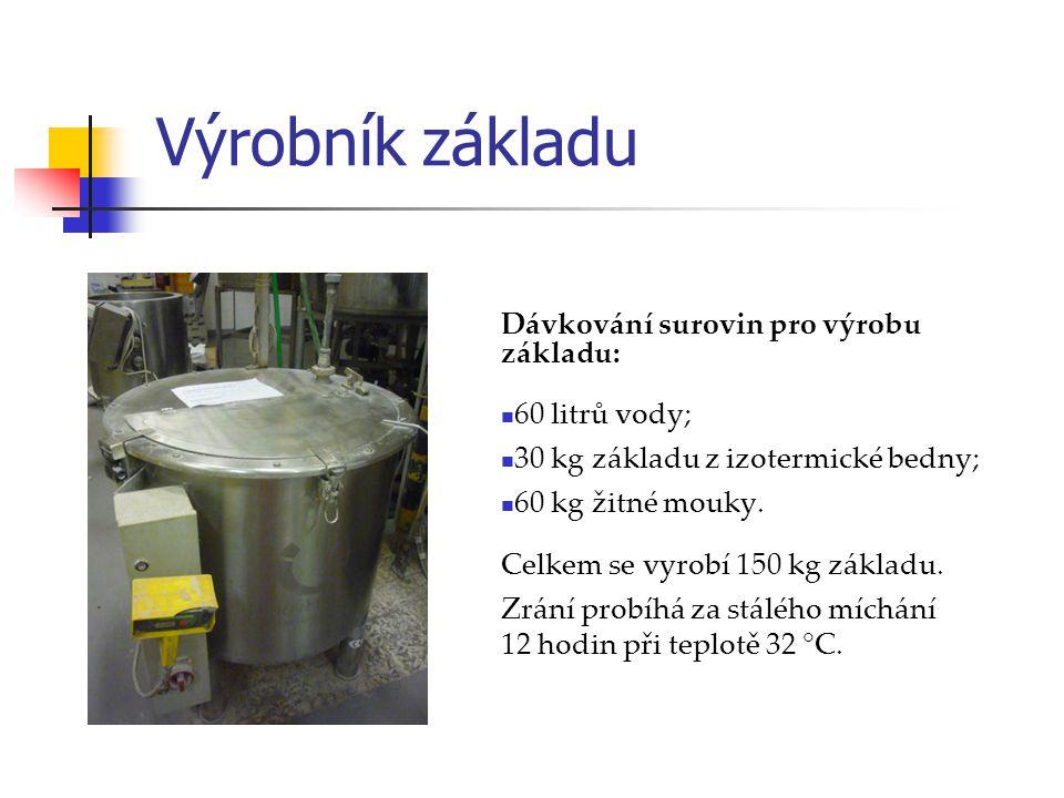 Výrobník základu Dávkování surovin pro výrobu základu: 60 litrů vody;