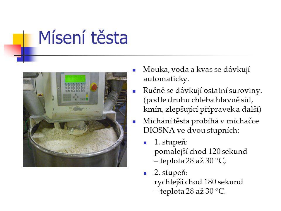 Mísení těsta Mouka, voda a kvas se dávkují automaticky.