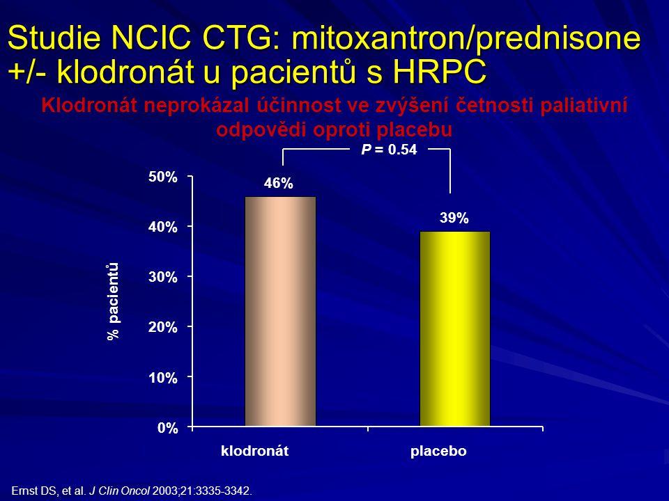 Studie NCIC CTG: mitoxantron/prednisone +/- klodronát u pacientů s HRPC