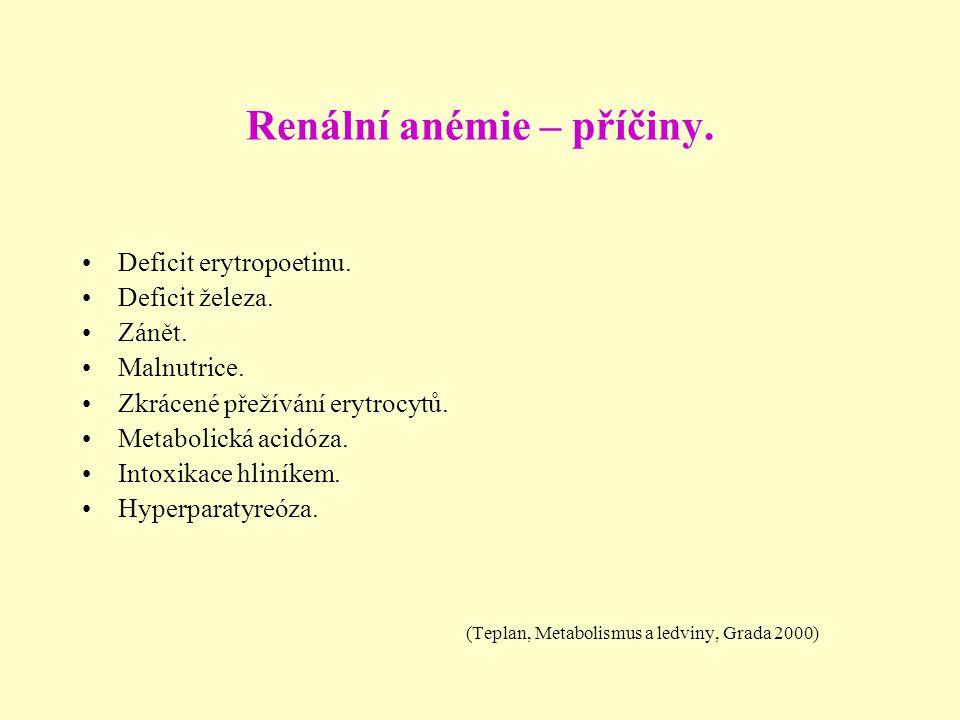 Renální anémie – příčiny.
