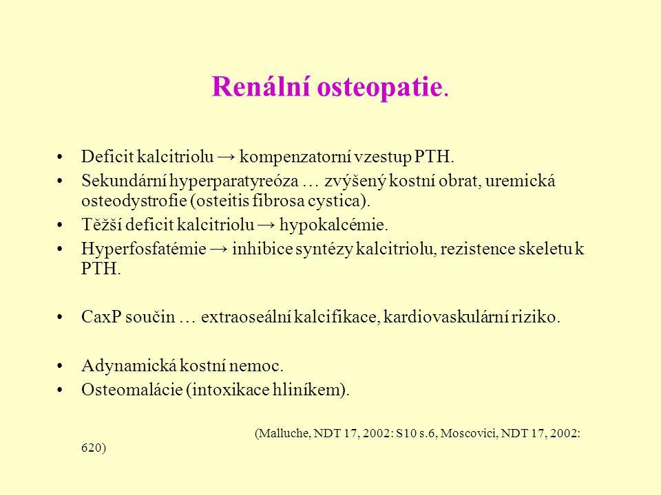 Renální osteopatie. Deficit kalcitriolu → kompenzatorní vzestup PTH.