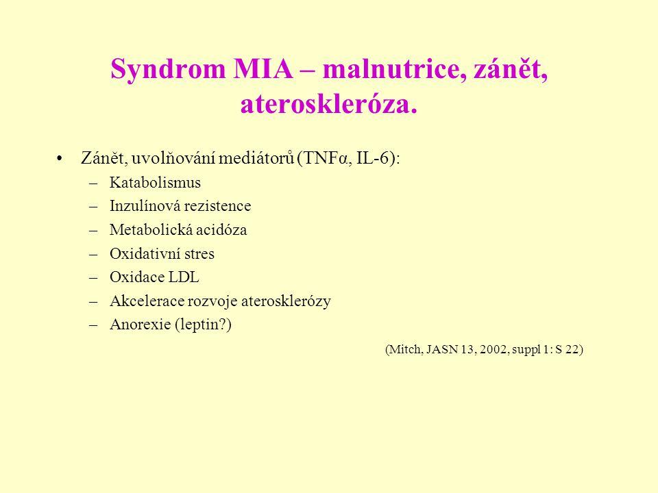 Syndrom MIA – malnutrice, zánět, ateroskleróza.