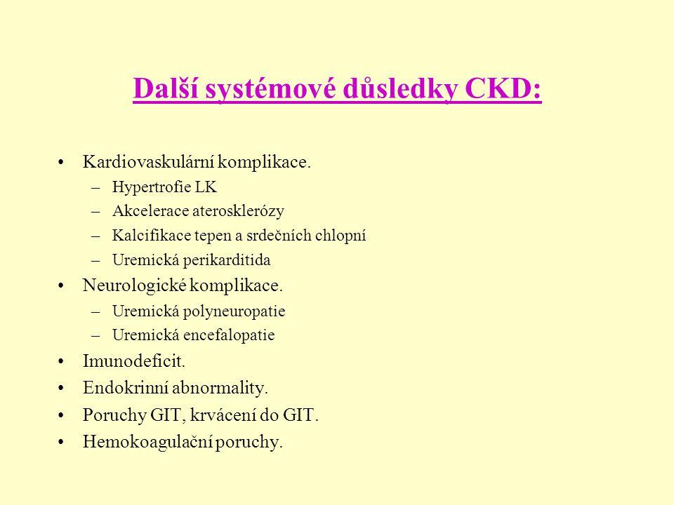 Další systémové důsledky CKD: