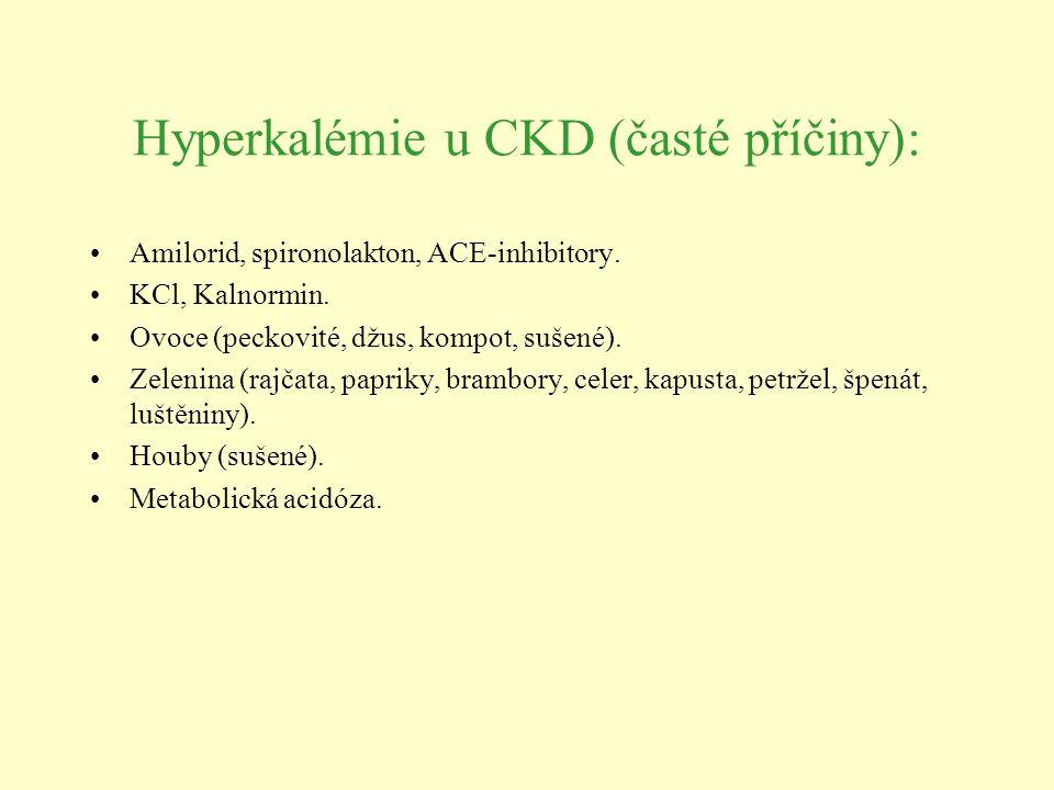 Hyperkalémie u CKD (časté příčiny):
