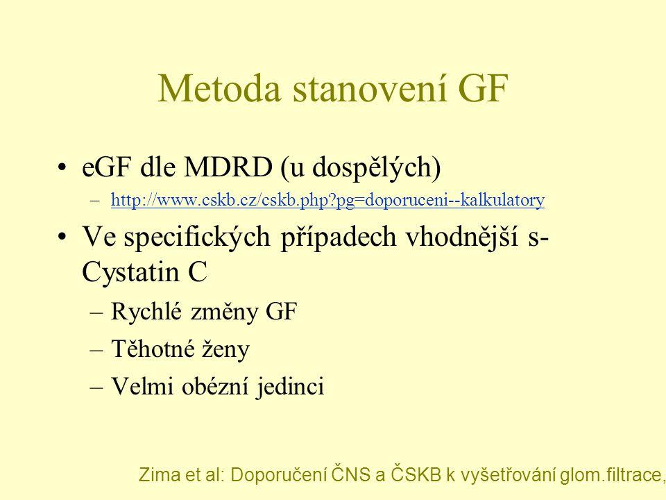 Metoda stanovení GF eGF dle MDRD (u dospělých)