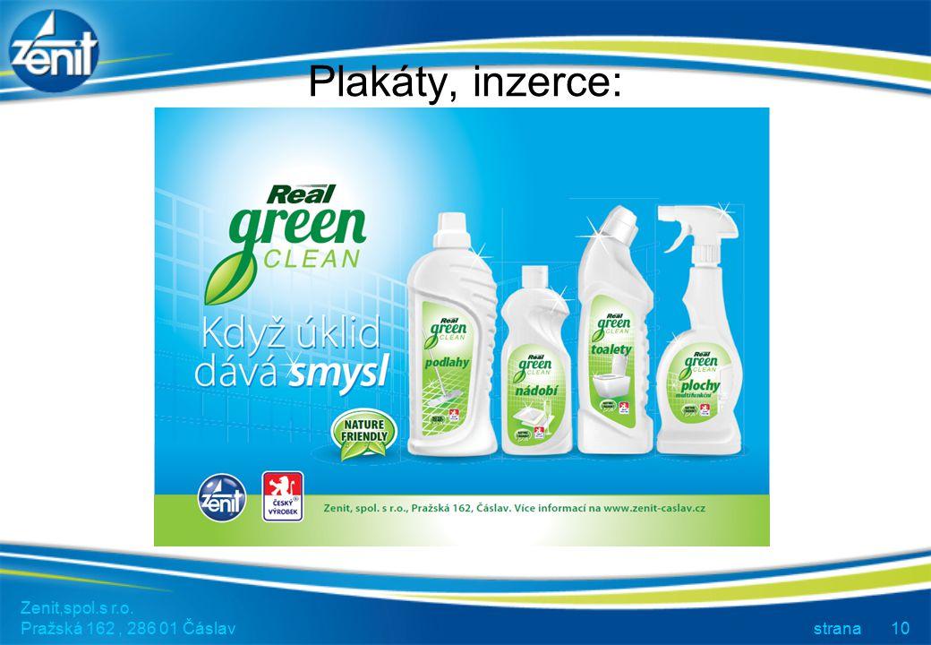 Plakáty, inzerce: Zenit,spol.s r.o. Pražská 162 , 286 01 Čáslav strana