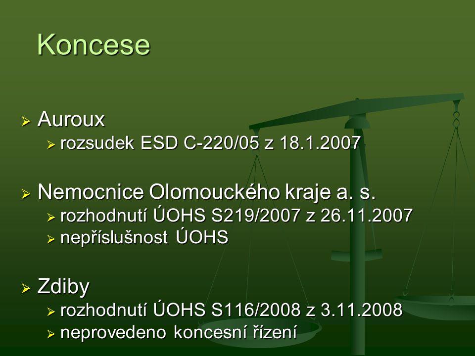 Koncese Auroux Nemocnice Olomouckého kraje a. s. Zdiby