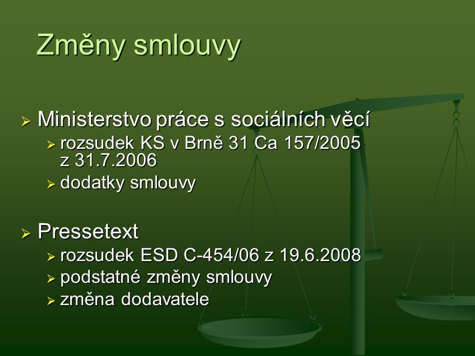 Změny smlouvy Ministerstvo práce s sociálních věcí Pressetext