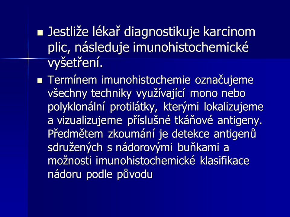 Jestliže lékař diagnostikuje karcinom plic, následuje imunohistochemické vyšetření.