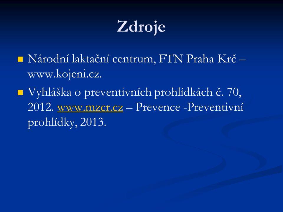 Zdroje Národní laktační centrum, FTN Praha Krč – www.kojeni.cz.