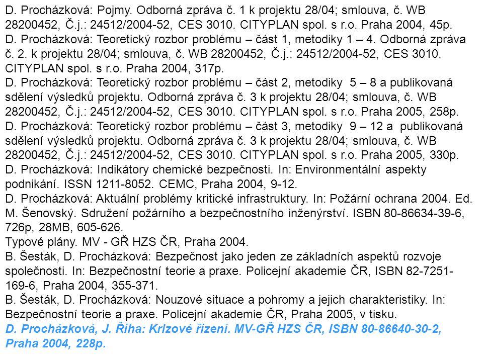 D. Procházková: Pojmy. Odborná zpráva č. 1 k projektu 28/04; smlouva, č. WB 28200452, Č.j.: 24512/2004-52, CES 3010. CITYPLAN spol. s r.o. Praha 2004, 45p.