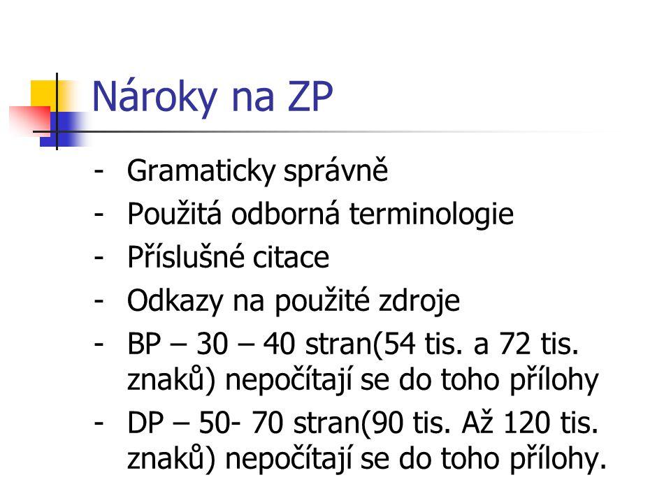 Nároky na ZP Gramaticky správně Použitá odborná terminologie