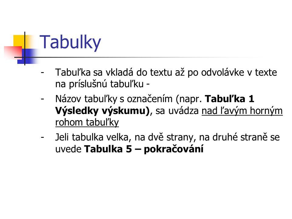 Tabulky Tabuľka sa vkladá do textu až po odvolávke v texte na príslušnú tabuľku -