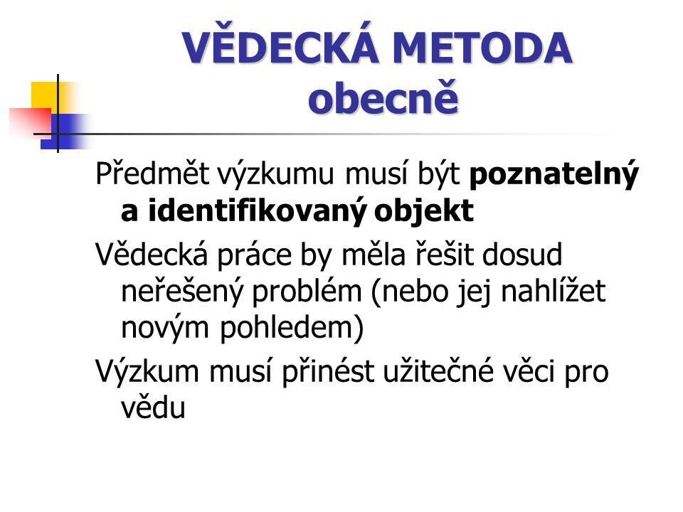 VĚDECKÁ METODA obecně Předmět výzkumu musí být poznatelný a identifikovaný objekt.