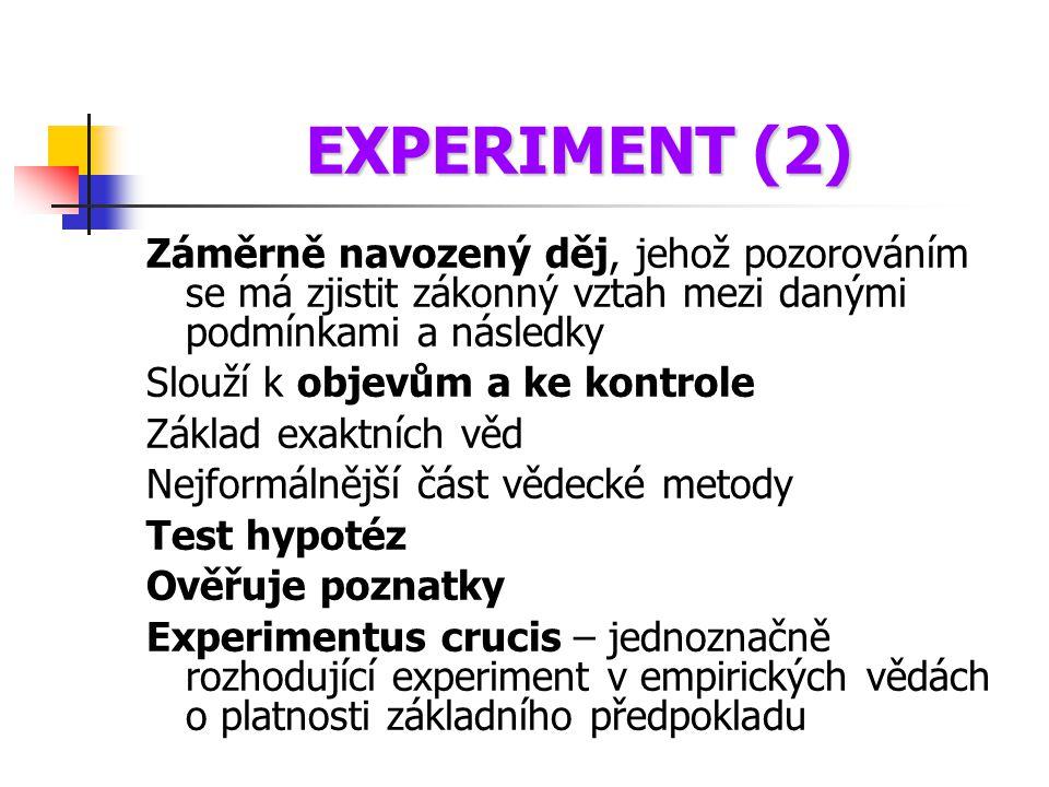 EXPERIMENT (2) Záměrně navozený děj, jehož pozorováním se má zjistit zákonný vztah mezi danými podmínkami a následky.
