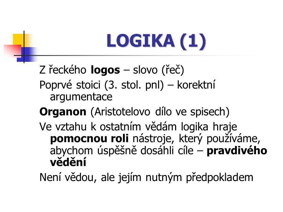 LOGIKA (1) Z řeckého logos – slovo (řeč)