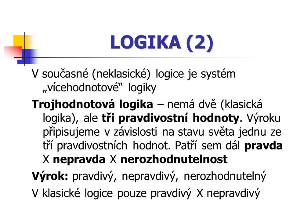 """LOGIKA (2) V současné (neklasické) logice je systém """"vícehodnotové logiky."""