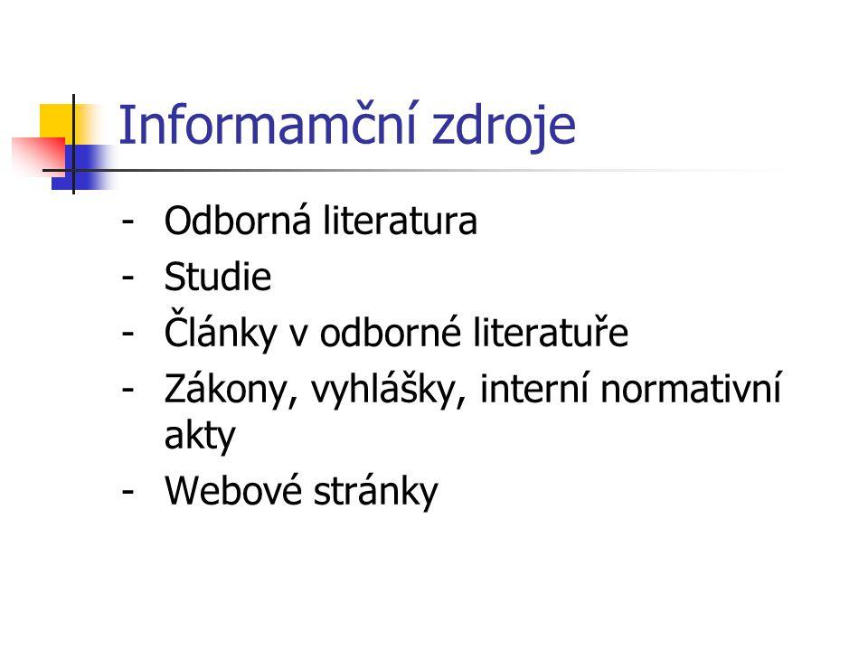Informamční zdroje Odborná literatura Studie