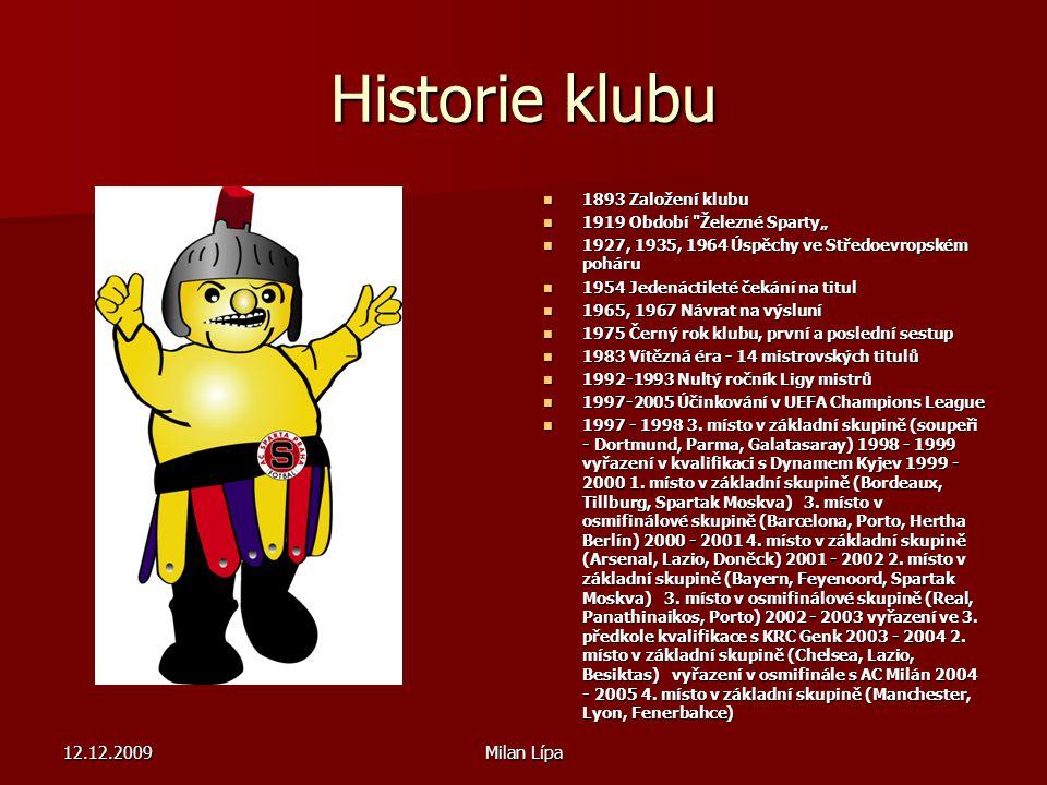 Historie klubu 12.12.2009 Milan Lípa 1893 Založení klubu