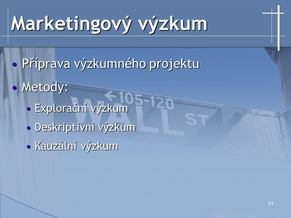 Marketingový výzkum Příprava výzkumného projektu Metody: