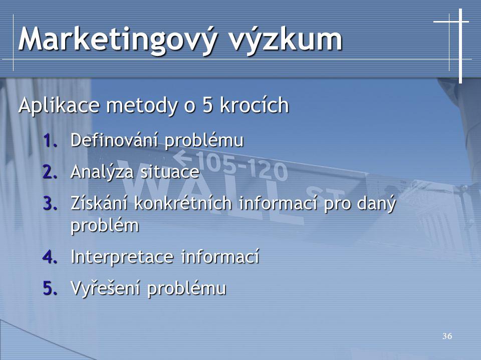 Marketingový výzkum Aplikace metody o 5 krocích Definování problému