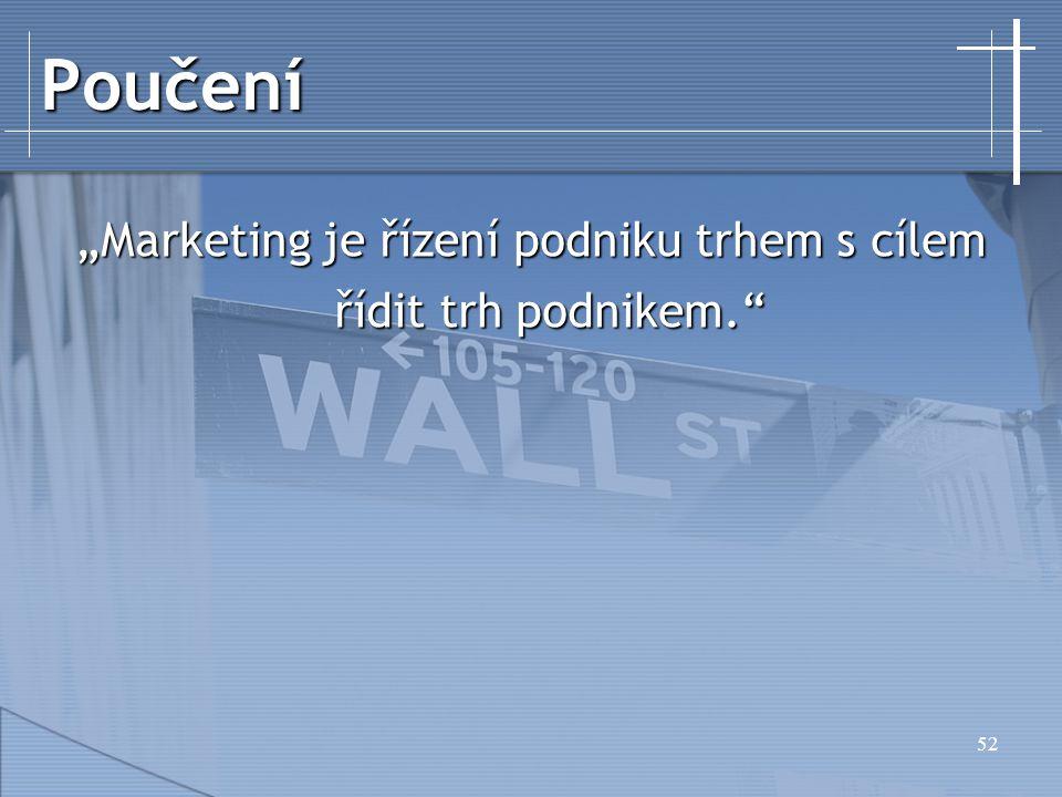 """""""Marketing je řízení podniku trhem s cílem řídit trh podnikem."""