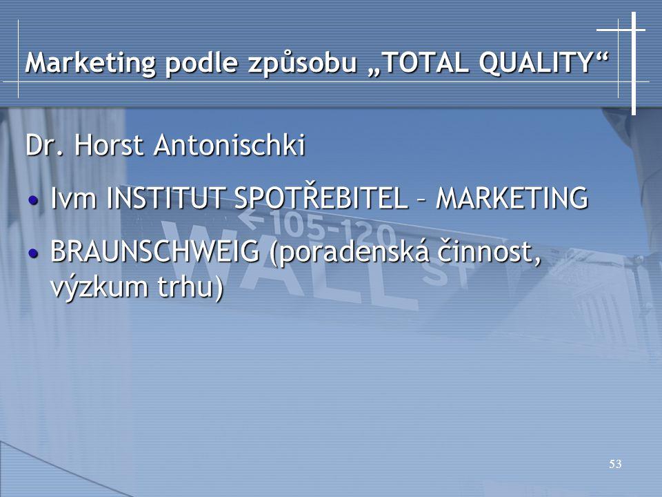 """Marketing podle způsobu """"TOTAL QUALITY"""