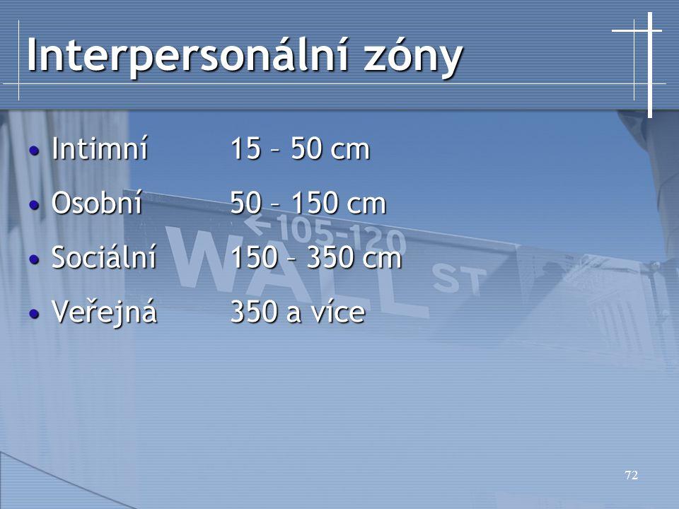 Interpersonální zóny Intimní 15 – 50 cm Osobní 50 – 150 cm
