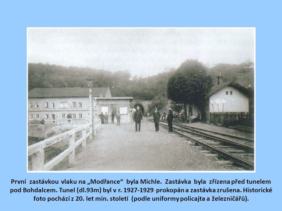 """První zastávkou vlaku na """"Modřance byla Michle"""