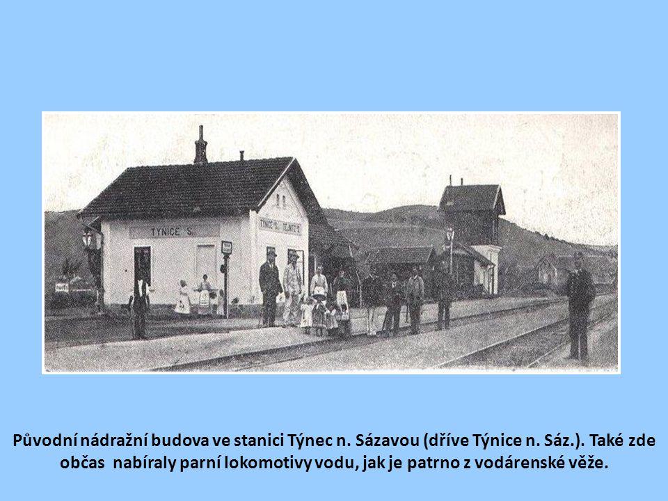 Původní nádražní budova ve stanici Týnec n. Sázavou (dříve Týnice n