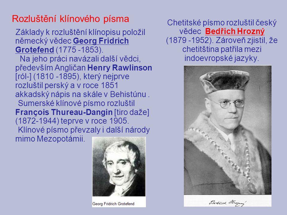 Chetitské písmo rozluštil český vědec Bedřich Hrozný