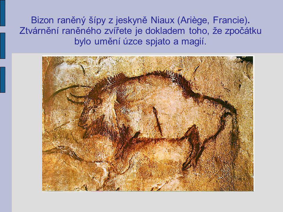 Bizon raněný šípy z jeskyně Niaux (Ariège, Francie)