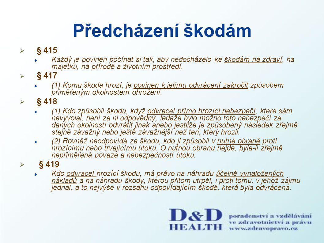 Předcházení škodám § 415 § 417 § 418 § 419