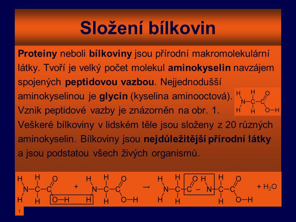 Složení bílkovin Proteiny neboli bílkoviny jsou přírodní makromolekulární. látky. Tvoří je velký počet molekul aminokyselin navzájem.