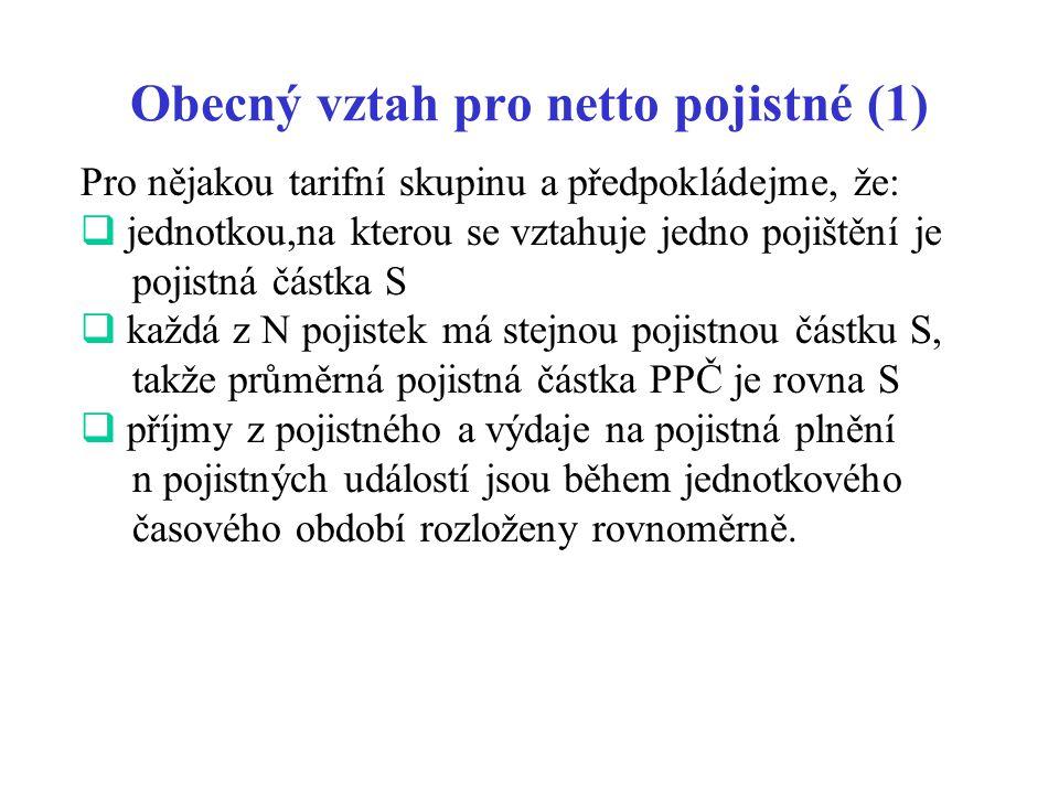 Obecný vztah pro netto pojistné (1)