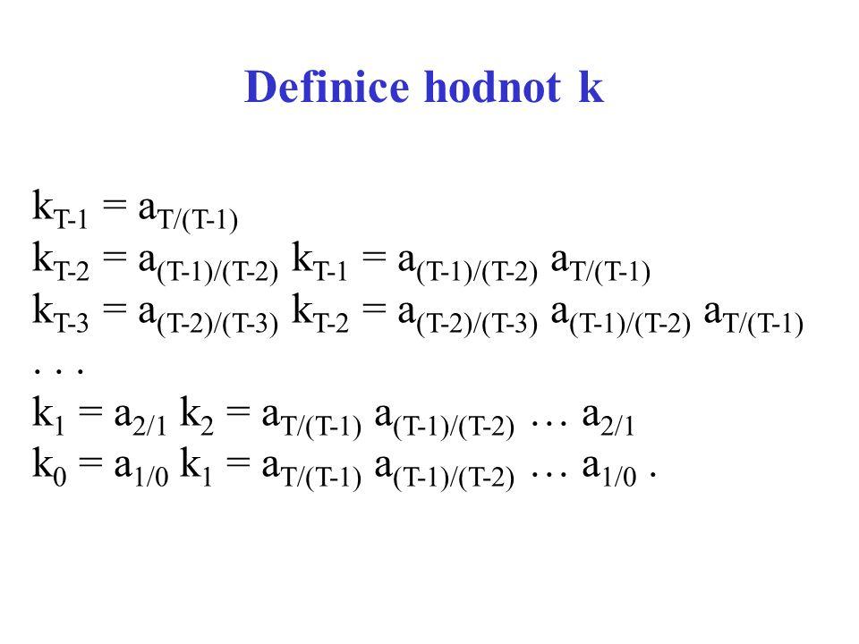 Definice hodnot k kT-1 = aT/(T-1)