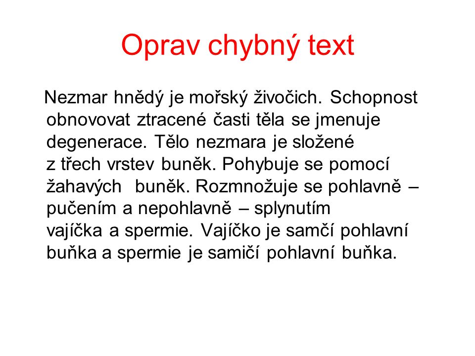 Oprav chybný text